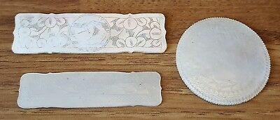 Chinese mother of pearl vintage Victorian oriental antique group of 3 counters
