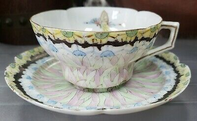 Early 20th Century Japanese Kutani Porcelain Butterfly/Floral Teacup and Saucer