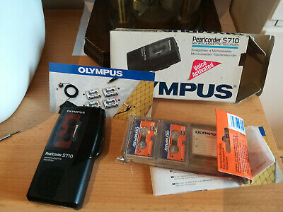 Olympus Pearlcorder S710 Handheld Microcassette Voice Recorder BOX PAPERS ...