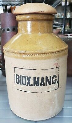 Circa 1880 Curling & Co. Druggists Manganese Dioxide Stoneware Apothecary Jar