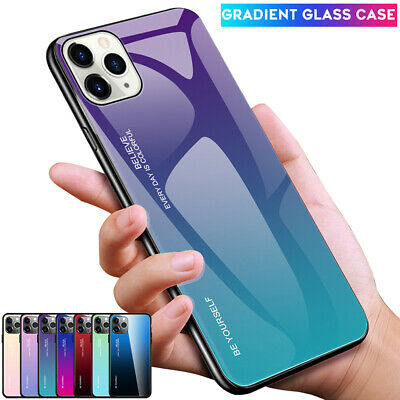 Gradient Tempered Glass Armor Case for iPhone 11 Pro Max XR XS Hybrid Back Cover