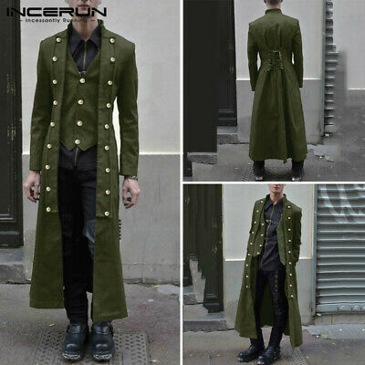 Steampunk Men's Gothic Long Sleeve Jacket Medieval Overcoat Victorian Retro Coat