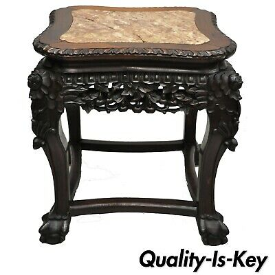 Antique Carved Hardwood Rosewood Marble Top Chinese Pedestal Table Plant Stand H