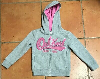 OshKosh B'gosh Girls Pink and Grey Zip through Hoodie Age 4 Years