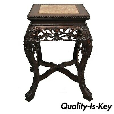 Antique Carved Hardwood Rosewood Marble Top Chinese Pedestal Table Plant Stand D