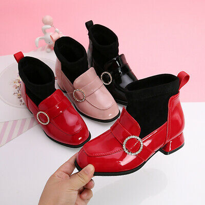 Fashion Kids Girls Ankle boots Shoes Children Princess High Heels Shoes Party B