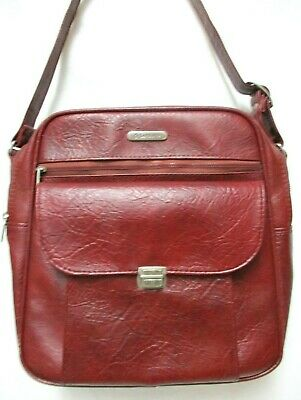 Samsonite Sonora II burgundy Vinyl Messenger Travel Bag Vintage Luggage Carry On