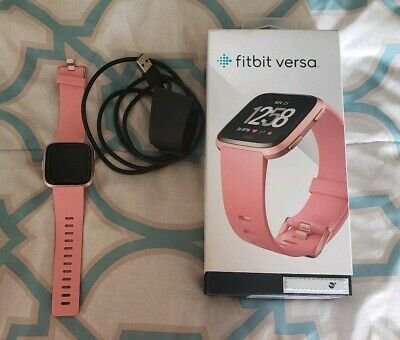 Fitbit Versa Peach Rose Gold Size M&L bands, box, charger and screen protector