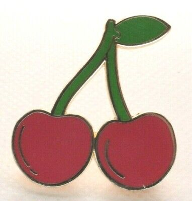 RED CHERRIES CHERRY Acrylic Pin Badge Brooch Rockabilly Kitsch Quirky Cute Retro