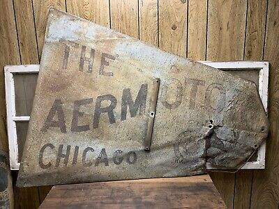Vintage The Aemotor Chicago Windmill Tail Sign Farm House Decor Old Rustic Grey