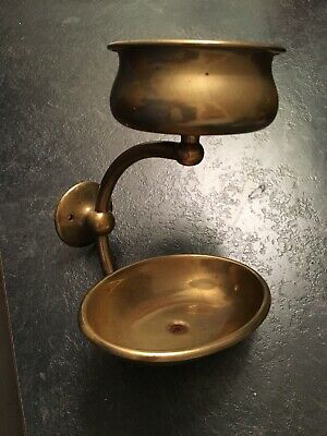 Solid Vintage Bathroom Cup Soap Holder Wall Mount Makers Mark Brass Tone