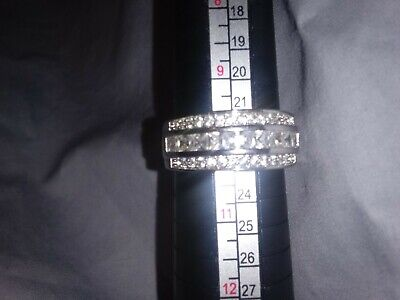 Beautiful! Women's Sparkly 3-Layer Band with CZ on Silver Plated Size 10