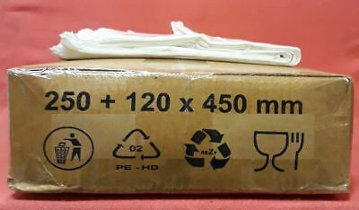 1000 Carrier Bags Plastic - 250+ 120 x 450 mm - Bags Strap Carrying Bag