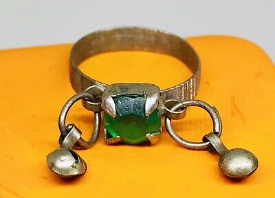 Late Medival Old Brass Ring With Rare  Old Emerald Glass