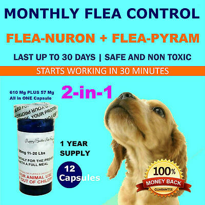 2-in-1 1 Year Supply MONTHLY Flea Control Dogs 90-135 Lbs 615Mg+57Mg 12 Capsules