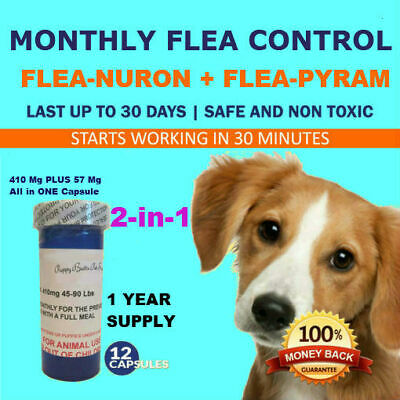 2-in-1 1 Year Supply MONTHLY Flea Control Dogs 45-90 Lbs 410Mg+57Mg 12 Capsules