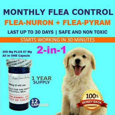 2-in-1 1 Year Supply MONTHLY Flea Control Dogs 21-45 Lbs 205Mg+57Mg 12 Capsules