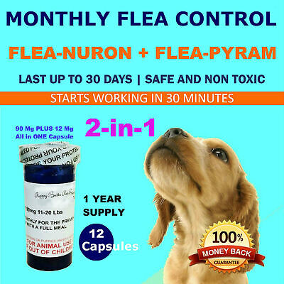 2-in-1 1 Year Supply MONTHLY Flea Control Dogs 11-20 Lbs 90Mg+12Mg 12 Capsules