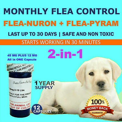 2-in-1 1 Year Supply MONTHLY Flea Control Dogs 2-10 Lbs 45Mg+12Mg 12 Capsules