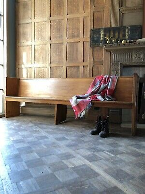 Large Antique Primitive Church Pew Bench, 8 Foot Entryway Bench Seating