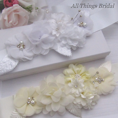 Bridal Belt/Sash with Chiffon Flowers, Pearls & Diamantes. In White or Ivory