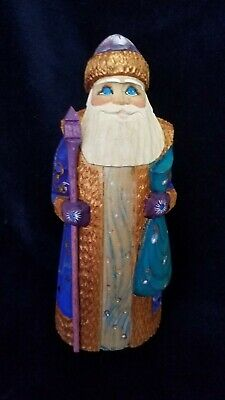 Hand Carved Painted Wooden Santa Claus #5 Christmas Russia USSR Soviet