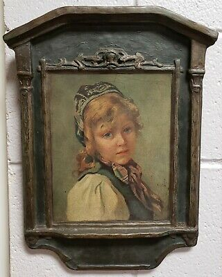 Early 20th Century Herman Seeger Young Girl Painting Decoupage Art in Composite