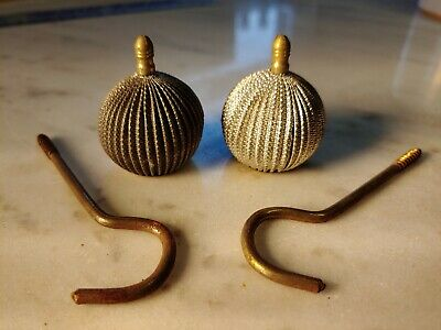 Vintage Antique Curtain Rod Finial Set With Brackets Hardware