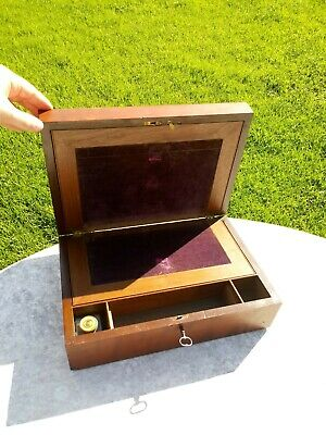 Antique Wood Lap Writing Desk Box with Key and Glass Inkwell