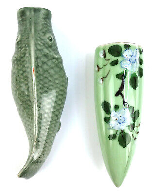 Lot of 2 Vintage Hand Painted Wall Pocket Vases Asian Koi Fish and Flower