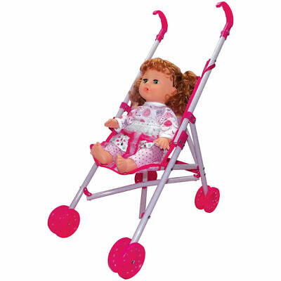 Baby Doll and Buggy - Metal Frame Folding Pram Set pushchair