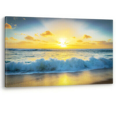 Beach Sunset & Crashing Wave Large Canvas Wall Art Picture Print A0 A2