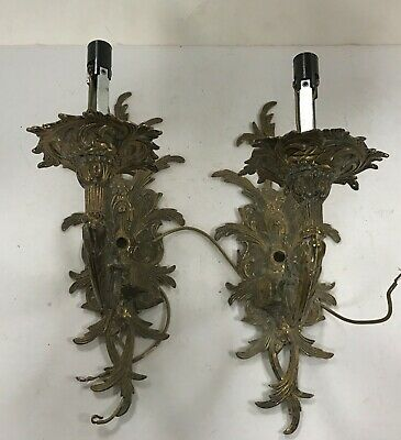 Antique pair brass crystal glass prism electric wall sconce