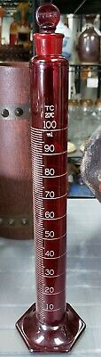 Late 1930's Pyrex Red Glass 100 ML Graduated Cylinder
