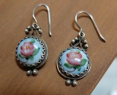 Antique Edwardian Victorian Silver Hand Painted Porcelain Etruscan Drop Earrings