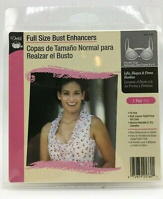 Dritz Full Size Bust Enhancers, 1 Pair White B/C Cup Bra Inserts, New