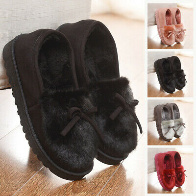 Womens Ladies Winter Warm Fur Lined Hard Sole Slip On Moccasin Slippers Shoes