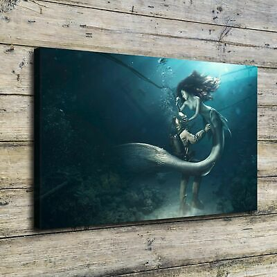 "12""x20""Mermaid HD Canvas Prints Painting Home Decor Picture Room Wall Art Poster"