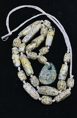 Ancient Roman Empire Style Glass Jar Artifact Artwork Old Pendant Beads Necklace