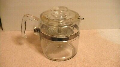 Vintage 6 Cup Pyrex 7756 Stovetop Clear Glass Percolator Coffee Pot Complete