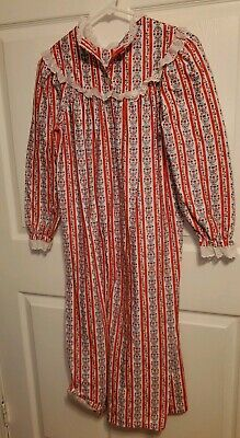 Lanz Of Salzburg Red Floral Hearts Flannel Nightgown Girls Size Large 10/12 EUC