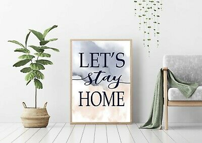 """Print,Poster, Wall Art,Quotes """"Lets Stay Home"""" Watercolour Blush Pink and Navy"""