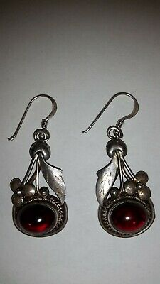 Vintage & beautiful  Genuine  Ruby & 925 Silver dangle earings Engraved