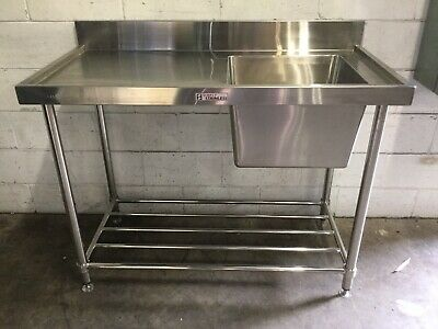 Commercial Restaurant SIMPLY Stainless Right Hand Sink prep Bench & Undershelf