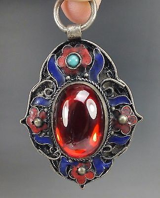 Chinese Natural hetian Red Zircon Hand-carved Silver Enamel Pendant
