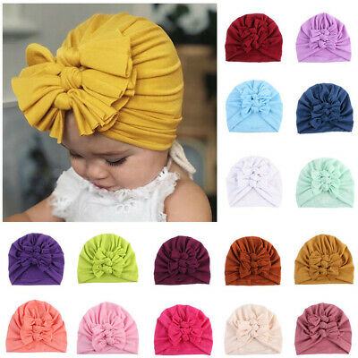 Newborn Infant Baby Boy Girl Bowknot Beanie Headwear Hair Bands Cap Elastic Hat