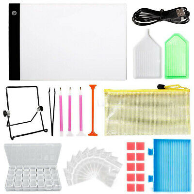 5D Diamond Painting Tools DIY Art Craft + LED Pad Light Board With Stand Holder