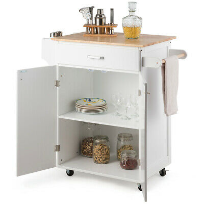 ROLLING KITCHEN ISLAND Utility Kitchen Cart Cabinet With ...