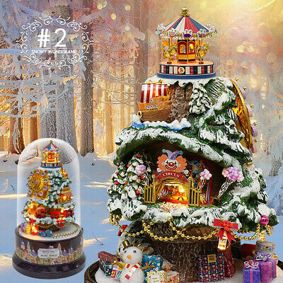 DIY LED Light Rotating Wooden Dollhouse Box With Music For Kids Baby Birthday AU