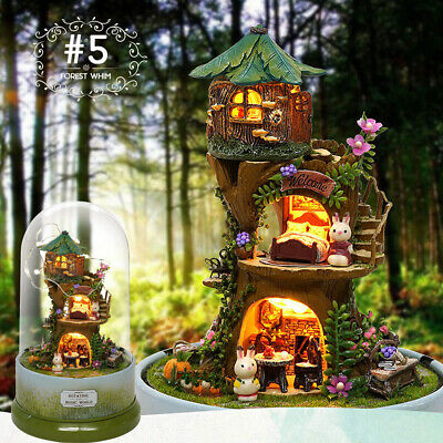 DIY Handcraft 3D Wooden Toy Miniature Kit Dollhouse LED Lights Diary House Gift